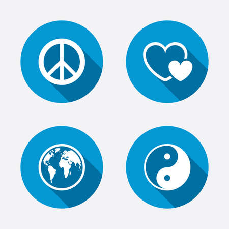 World globe icon. Ying yang sign. Hearts love sign. Peace hope. Harmony and balance symbol. Circle concept web buttons. Vector
