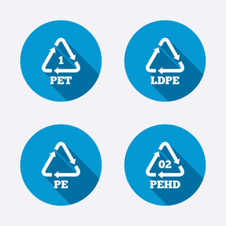 polyethylene: PET, Ld-pe and Hd-pe icons. High-density Polyethylene terephthalate sign. Recycling symbol. Circle concept web buttons. Vector
