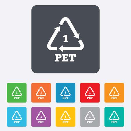 PET 1 icon. Polyethyleentereftalaat teken. Recycling symbool. Flessen verpakking. Afgeronde vierkanten 11 toetsen. Vector Stock Illustratie