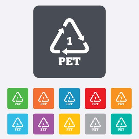 rounded squares: PET 1 icon. Polyethylene terephthalate sign. Recycling symbol. Bottles packaging. Rounded squares 11 buttons. Vector