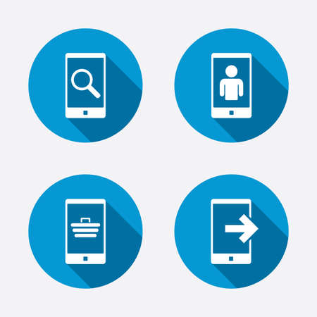 outcoming: Phone icons. Smartphone video call sign. Search, online shopping symbols. Outcoming call. Circle concept web buttons. Vector