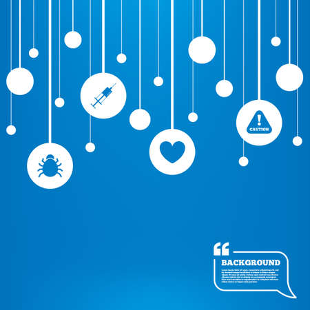 Circles background with lines. Bug and vaccine syringe injection icons. Heart and caution with exclamation sign symbols. Icons tags hanged on the ropes. Vector Vector