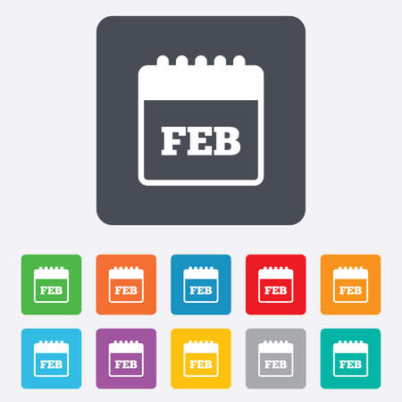 rounded squares: Calendar sign icon. February month symbol. Rounded squares 11 buttons. Vector Illustration