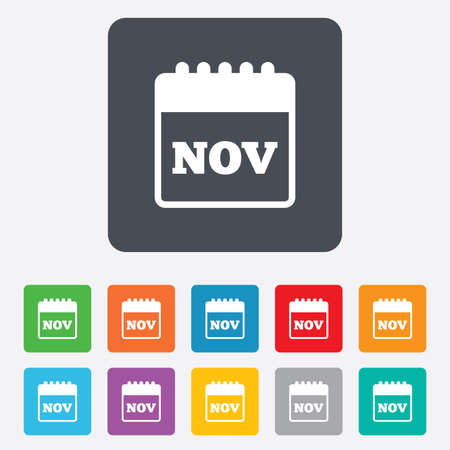 rounded squares: Calendar sign icon. November month symbol. Rounded squares 11 buttons. Vector Illustration