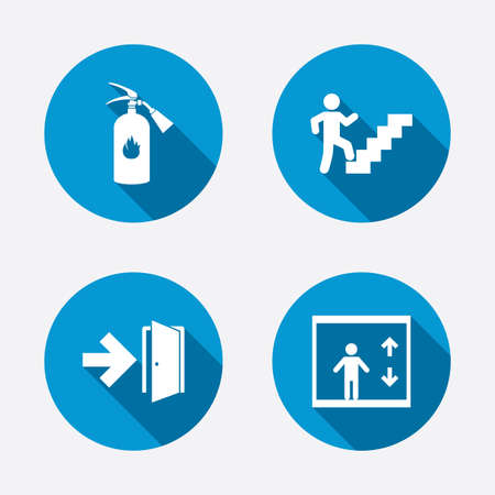 Emergency exit icons. Fire extinguisher sign. Elevator or lift symbol. Fire exit through the stairwell. Circle concept web buttons. Vector