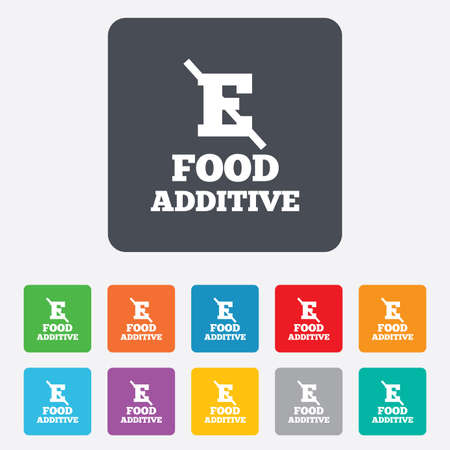 stabilizers: Food additive sign icon. Without E symbol. Healthy natural food. Rounded squares 11 buttons. Vector