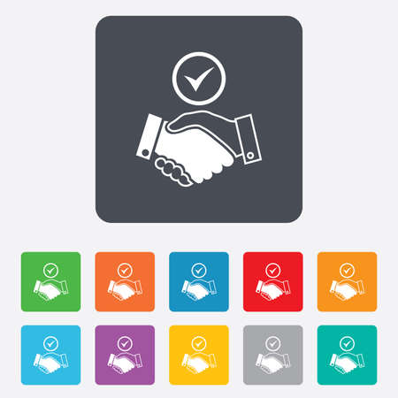Tick handshake sign icon. Successful business with check mark symbol. Rounded squares 11 buttons. Vector