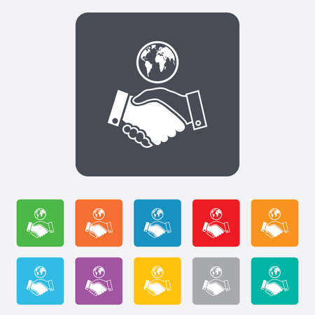 settlement: World handshake sign icon. Amicable agreement. Successful business with globe symbol. Rounded squares 11 buttons. Vector Illustration