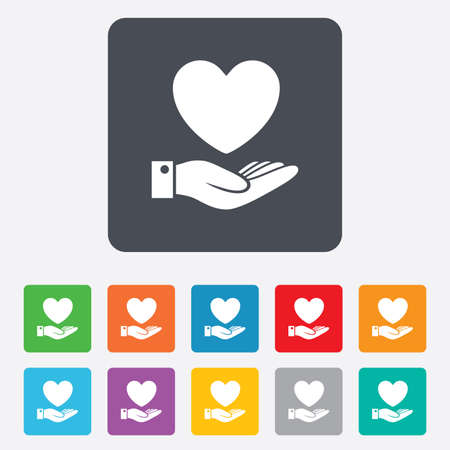 rounded squares: Heart and hand sign icon. Palm holds love symbol. Rounded squares 11 buttons. Vector