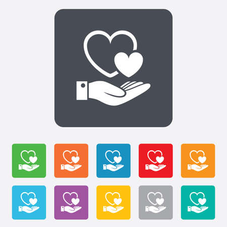 rounded squares: Hearts and hand sign icon. Palm holds love symbol. Rounded squares 11 buttons. Vector Illustration