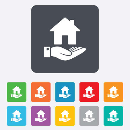 rounded squares: Home and hand sign icon. Palm holds house symbol. Rounded squares 11 buttons. Vector