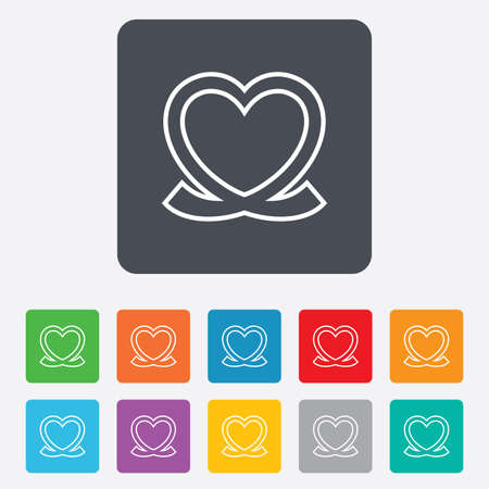 rounded squares: Heart ribbon sign icon. Love symbol. Rounded squares 11 buttons. Vector Illustration