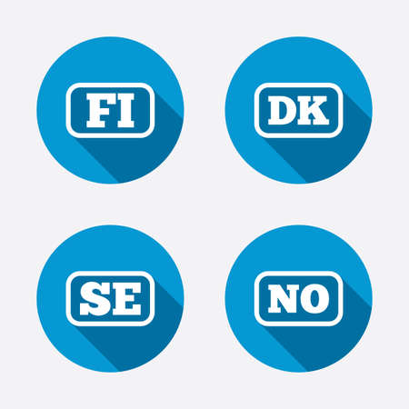 fi: Language icons. FI, DK, SE and NO translation symbols. Finland, Denmark, Sweden and Norwegian languages. Circle concept web buttons. Vector