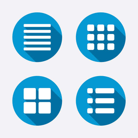 thumbnails: List menu icons. Content view options symbols. Thumbnails grid or Gallery view. Circle concept web buttons. Vector