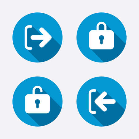 lock out: Login and Logout icons. Sign in or Sign out symbols. Lock icon. Circle concept web buttons. Vector