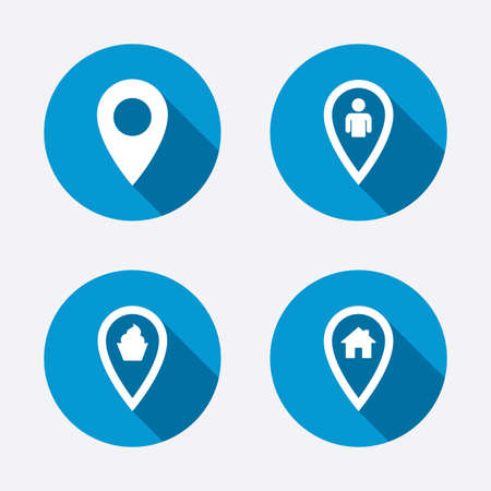Map pointer icons. Home, food and user location symbols. Restaurant and cupcake signs. You are here. Circle concept web buttons. Vector Vector