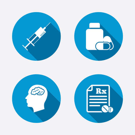 Medicine icons. Medical tablets bottle, head with brain, prescription Rx and syringe signs. Pharmacy or medicine symbol. Circle concept web buttons. Vector Vector