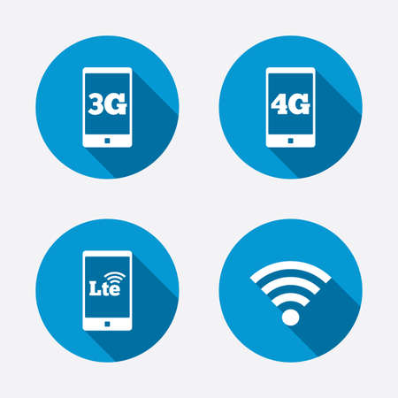 lte: Mobile telecommunications icons. 3G, 4G and LTE technology symbols. Wi-fi Wireless and Long-Term evolution signs. Circle concept web buttons. Vector