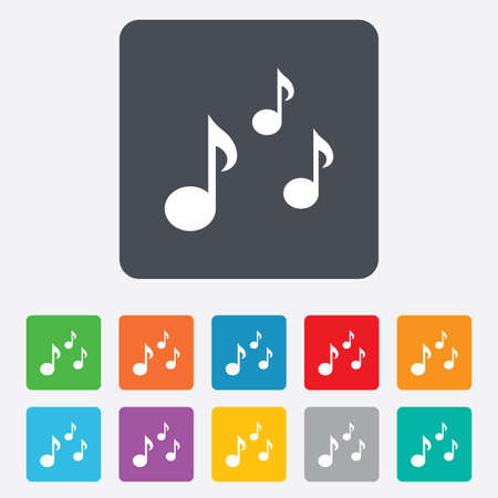 rounded squares: Music notes sign icon. Musical symbol. Rounded squares 11 buttons. Vector