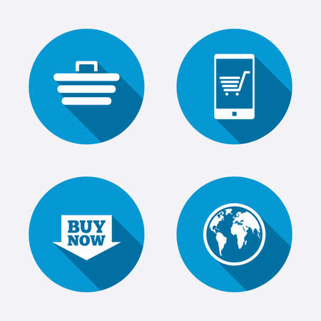 www concept: Online shopping icons. Smartphone, shopping cart, buy now arrow and internet signs. WWW globe symbol. Circle concept web buttons. Vector