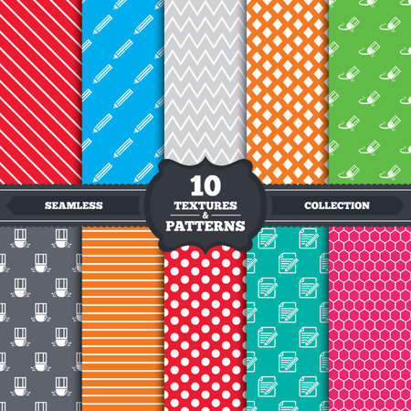 eraser mark: Seamless patterns and textures. Pencil icon. Edit document file. Eraser sign. Correct drawing symbol. Endless backgrounds with circles, lines and geometric elements. Vector Illustration