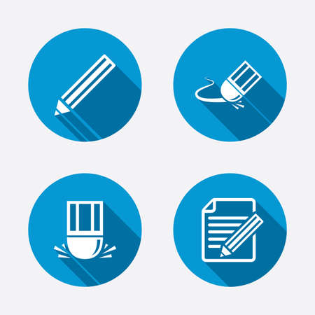 the concept is correct: Pencil icon. Edit document file. Eraser sign. Correct drawing symbol. Circle concept web buttons. Vector