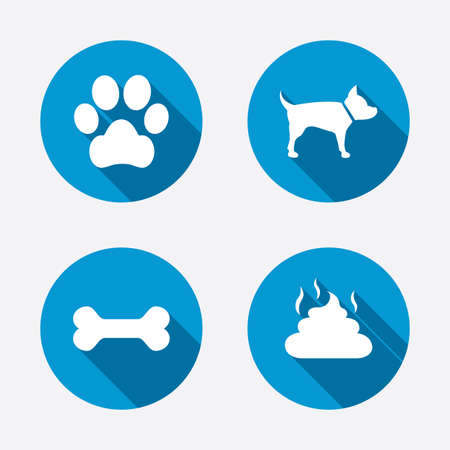 Pets icons. Dog paw and feces signs. Clean up after pets. Pets food. Circle concept web buttons. Vector Vector