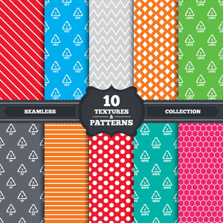 pp: Seamless patterns and textures. PET 1, Ld-pe 4, PP 5 and Hd-pe 2 icons. High-density Polyethylene terephthalate sign. Recycling symbol. Endless backgrounds with circles, lines and geometric elements. Vector Illustration