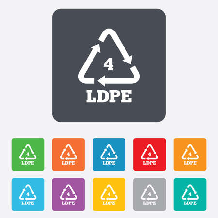polyethylene: Ld-pe 4 icon. Low-density polyethylene sign. Recycling symbol. Rounded squares 11 buttons. Vector