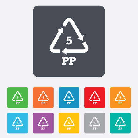 polymer: PP 5 icon. Polypropylene thermoplastic polymer sign. Recycling symbol. Rounded squares 11 buttons. Vector