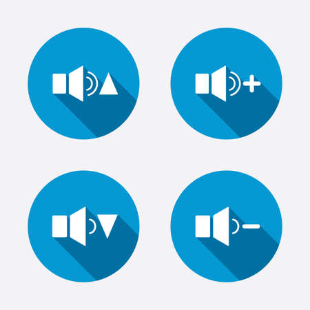quieter: Player control icons. Sound louder and quieter signs. Dynamic symbol. Circle concept web buttons. Vector