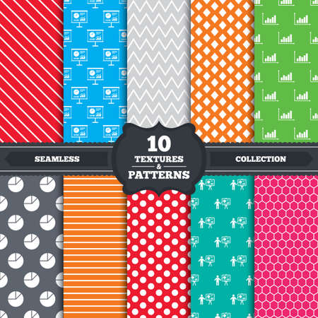 Seamless patterns and textures. Diagram graph Pie chart icon. Presentation billboard symbol. Supply and demand. Man standing with pointer. Endless backgrounds with circles, lines and geometric elements. Vector Vector