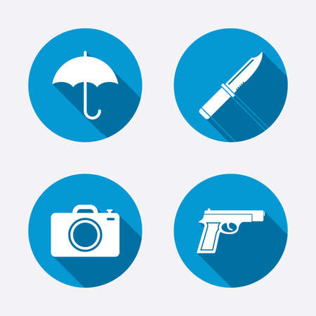 edged: Gun weapon icon.Knife, umbrella and photo camera signs. Edged hunting equipment. Prohibition objects. Circle concept web buttons. Vector