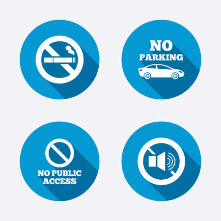 private access: Stop smoking and no sound signs. Private territory parking or public access. Cigarette symbol. Speaker volume. Circle concept web buttons. Vector