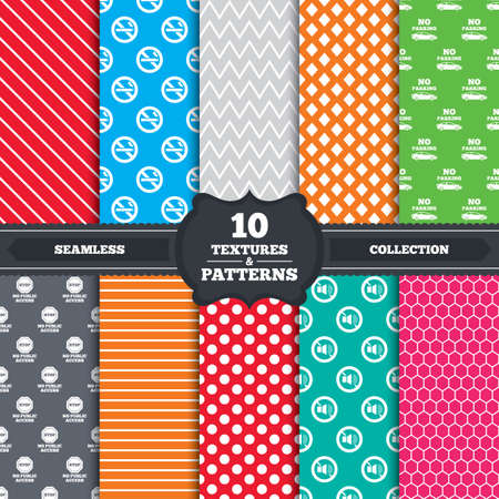 private access: Seamless patterns and textures. Stop smoking and no sound signs. Private territory parking or public access. Cigarette symbol. Speaker volume. Endless backgrounds with circles, lines and geometric elements. Vector