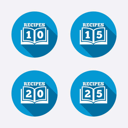 Cookbook icons. 10, 15, 20 and 25 recipes book sign symbols. Circle concept web buttons. Vector Vector