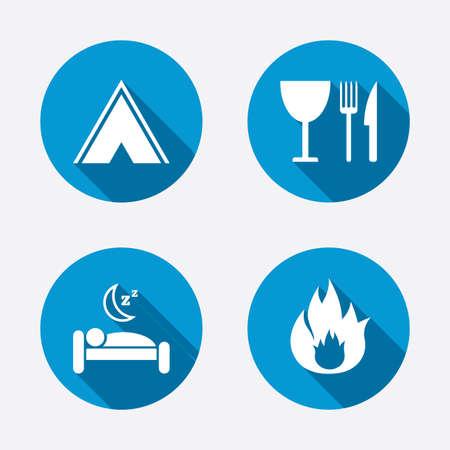 fork road: Comida, sue�o, tienda de campa�a y el fuego iconos. Cuchillo, tenedor y copa. Hotel o alojamiento y desayuno. Las se�ales de tr�fico. Botones concepto de web de c�rculo. Vector