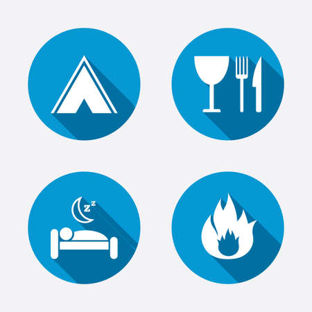 Food, sleep, camping tent and fire icons. Knife, fork and wineglass. Hotel or bed and breakfast. Road signs. Circle concept web buttons. Vector Vector
