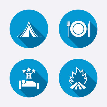 Food, sleep, camping tent and fire icons. Knife, fork and dish. Hotel or bed and breakfast. Road signs. Circle concept web buttons. Vector Vector