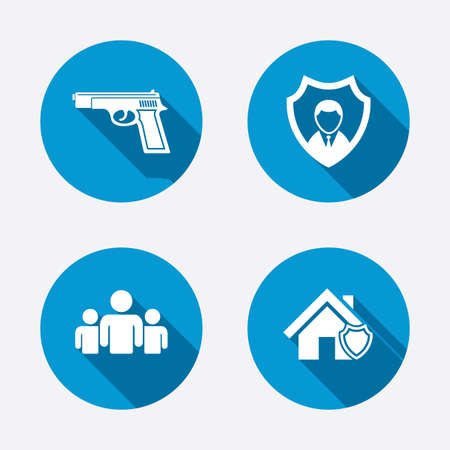 security token: Security agency icons. Home shield protection symbols. Gun weapon sign. Group of people or Share. Circle concept web buttons. Vector