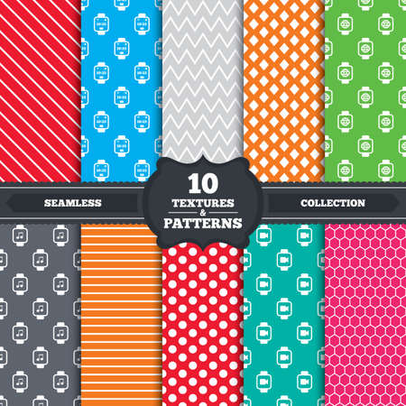 watch video: Seamless patterns and textures. Smart watch icons. Wrist digital time watch symbols. Music, Video, Globe internet and wi-fi signs. Endless backgrounds with circles, lines and geometric elements. Vector