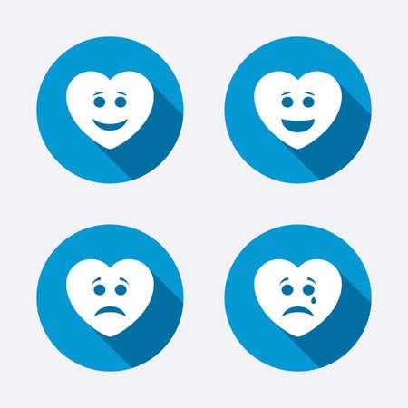 happy sad: Cuore sorriso icone del viso. Felice, triste, piangere segni. Felice simbolo smiley chat. Depressione Tristezza e segni di pianto. Cerchio concetto web pulsanti. Vettore