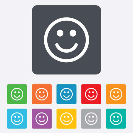 rounded squares: Smile icon. Happy face chat symbol. Rounded squares 11 buttons. Vector