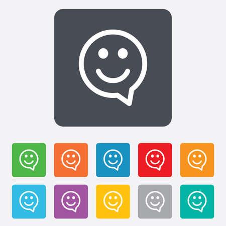 visage: Le chat visage heureux symbole en forme de bulle. Ic�ne sourire. Carr�s arrondis 11 boutons. Vecteur
