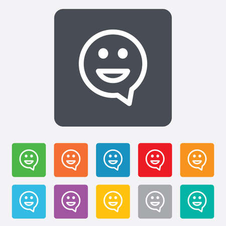 rounded squares: Happy face chat speech bubble symbol. Smile icon. Rounded squares 11 buttons. Vector Illustration