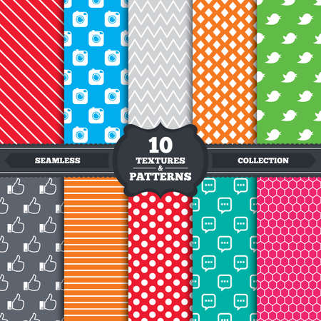 Seamless patterns and textures. Hipster photo camera icon. Like and Chat speech bubble sign. Hand thumb up facebook. Bird symbol. Endless backgrounds with circles, lines and geometric elements. Vector