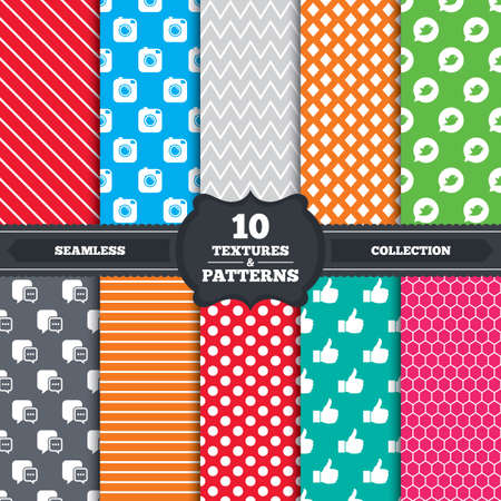 Seamless patterns and textures. Hipster photo camera icon. Like and Chat speech bubble sign. Instagram concept. Bird symbol. Endless backgrounds with circles, lines and geometric elements. Vector Illustration