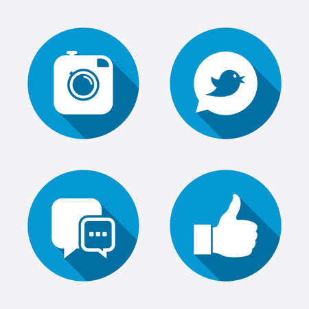 Hipster photo camera icon. Like and Chat speech bubble sign. Instagram concept. Bird symbol. Circle concept web buttons. Vector