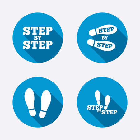 instruction: Step by step icons. Footprint shoes symbols. Instruction guide concept. Circle concept web buttons. Vector