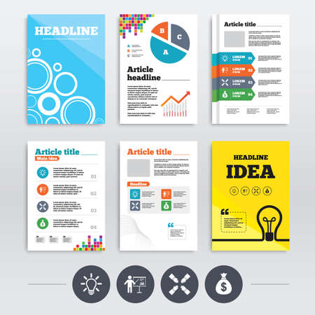 standing lamp: Brochure design and A4 flyers. Presentation billboard icon. Dollar cash money and lamp idea signs. Man standing with pointer. Teamwork symbol. Infographics templates set. Vector